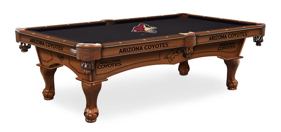 Arizona Coyotes NHL Logo 8' Pool Table with Bonus Cue Rack - Man Cave Boutique
