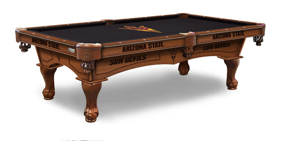 Arizona State University Logo 8' Pool Table with Bonus Cue Rack - Man Cave Boutique