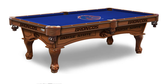 Boise State University Logo 8' Pool Table with Bonus Cue Rack - Man Cave Boutique