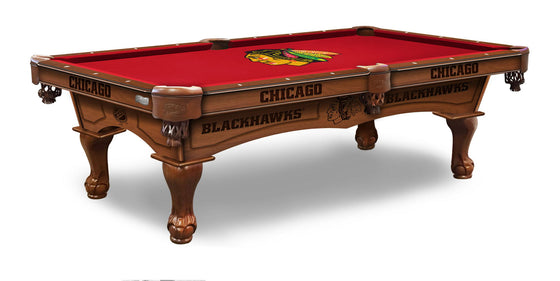 Chicago Blackhawks NHL Logo 8' Pool table - includes Bonus Cue Rack ! - Man Cave Boutique