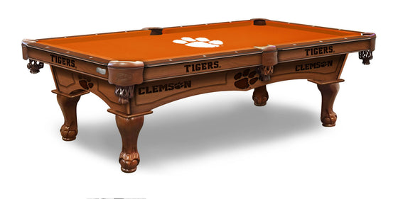Clemson 8' Logo Pool Table with Bonus Logo Cue Rack - Man Cave Boutique