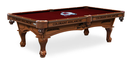 Colorado Avalanche NHL Logo 8' Pool Table with Bonus Cue Rack - Man Cave Boutique