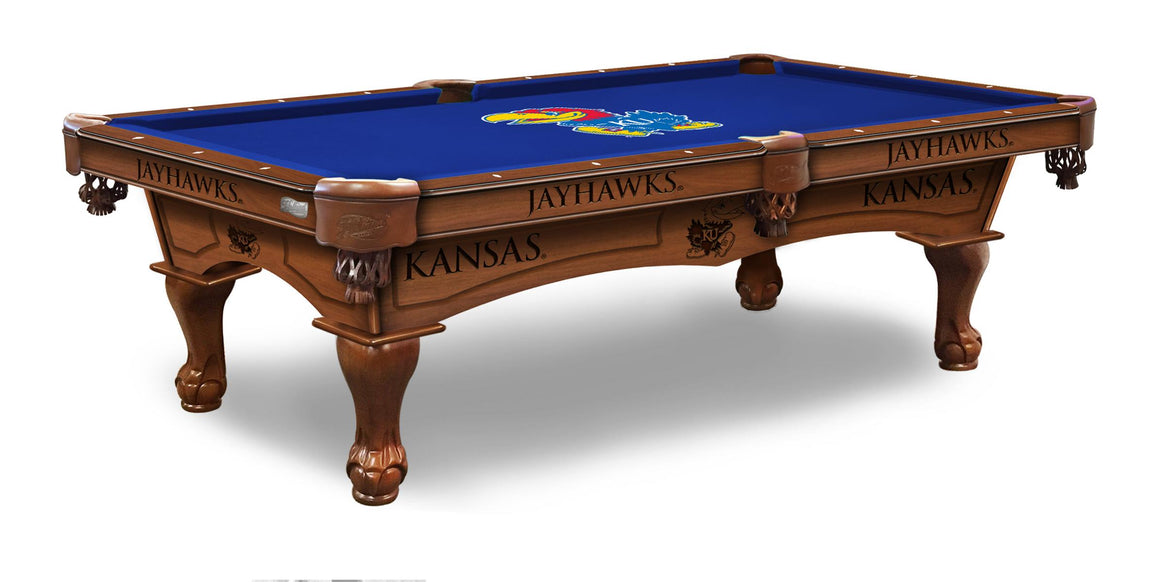 University of Kansas 8' Pool Table with Bonus Cue Rack - Man Cave Boutique