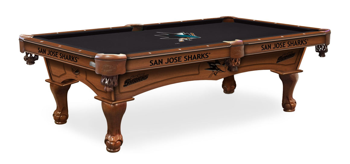 San Jose Sharks NHL Logo 8' Pool Table with Bonus Cue Rack - Man Cave Boutique
