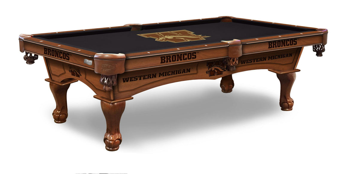 Western Michigan University 8' Pool Table with Bonus Cue Rack - Man Cave Boutique