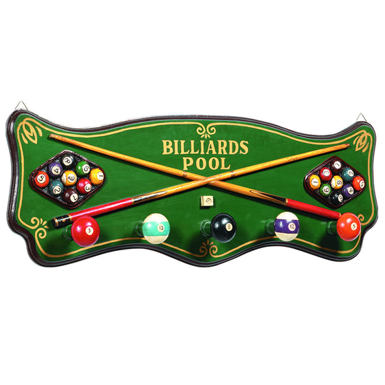 Pub Sign - Billiards Coat Rack Wall Decor - Man Cave Boutique