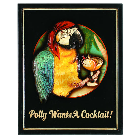 POLLY WANTS A COCKTAIL 16x19 - Man Cave Boutique
