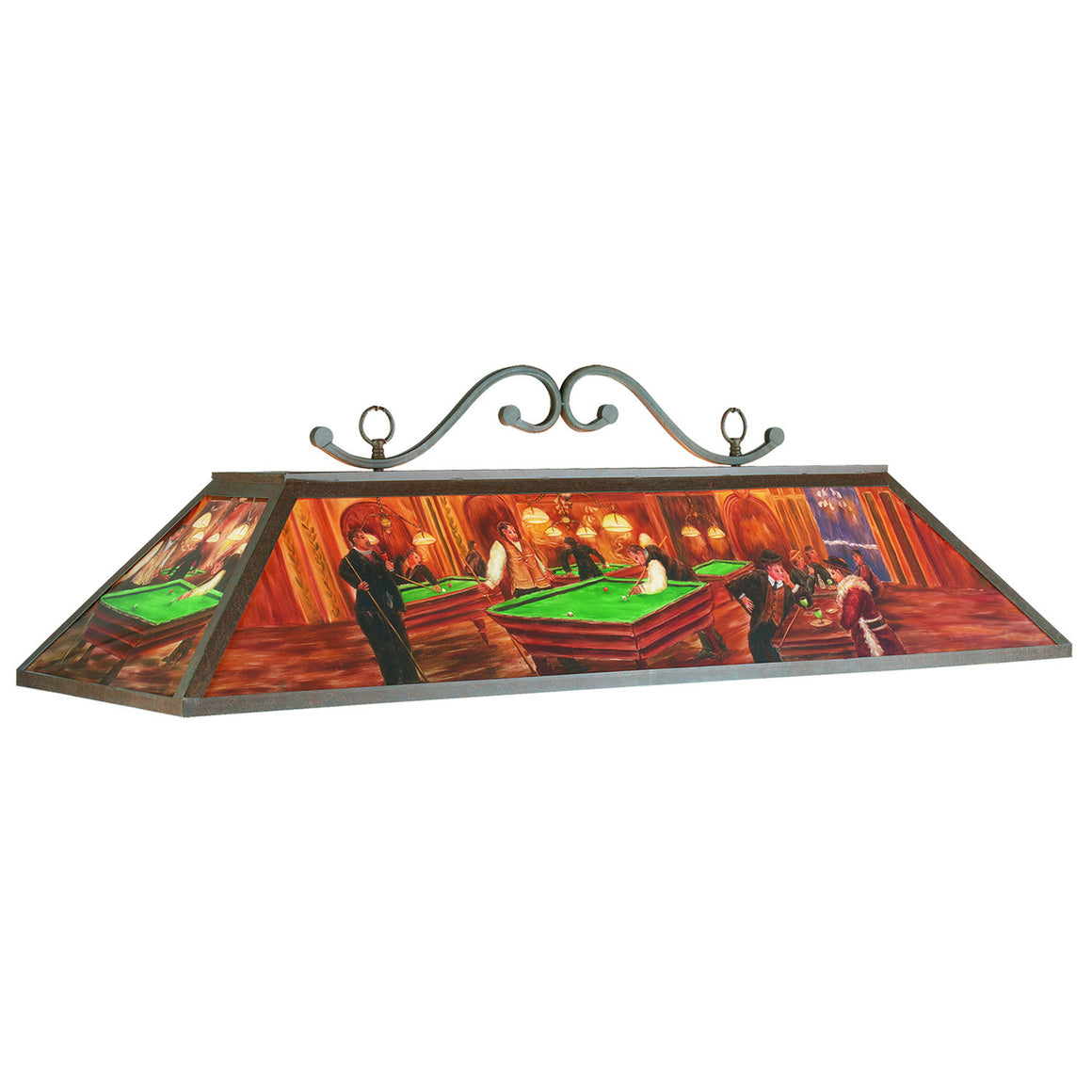 Billiards Hall Painted Glass 4-Light Fixture - Man Cave Boutique