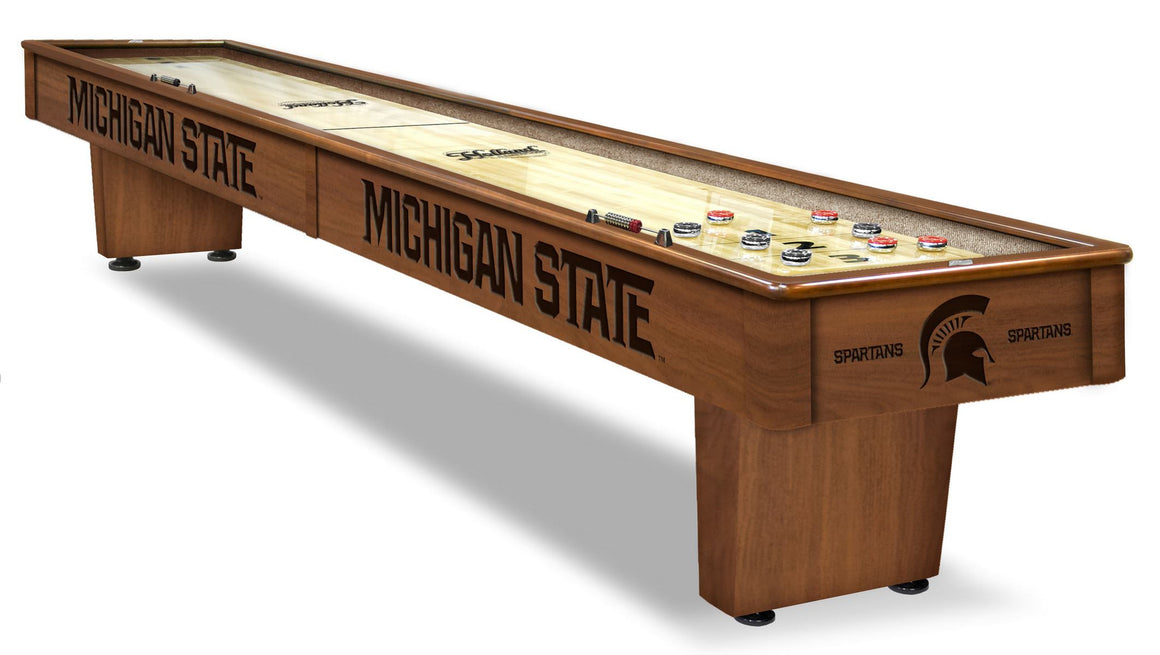 Michigan State 12' Shuffleboard Table - includes Bonus Logo Wall Clock! - Man Cave Boutique