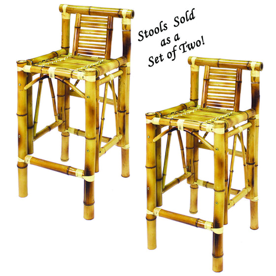 Set (2) Bamboo Tiki Bar Stools - Man Cave Boutique