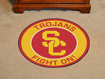 "SC - Trojans Fight On Logo Mat - Rounded 27"" Diameter - Man Cave Boutique"