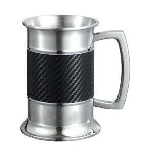 Visol Matrix Carbon Fiber Leatherette Stainless Steel Tankard - 16 oz - Man Cave Boutique