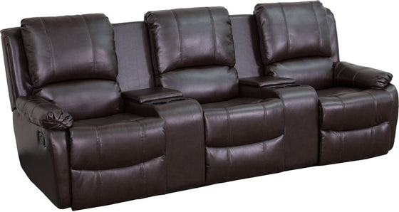 3-SEAT Reclining Pillow Back Brown Leather Theater Seating Unit - Man Cave Boutique