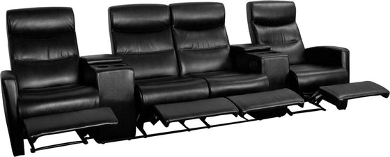 4-SEAT Reclining Black Leather Theater Seating Unit - Man Cave Boutique