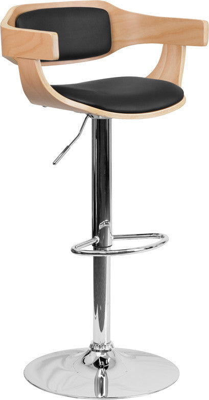 Beech Bentwood Adjustable Height Barstool w/Black Vinyl Upholstery - Man Cave Boutique