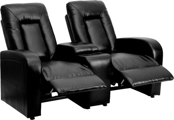 2-SEAT Black Leather Contemporary Theater Seating Unit - Man Cave Boutique