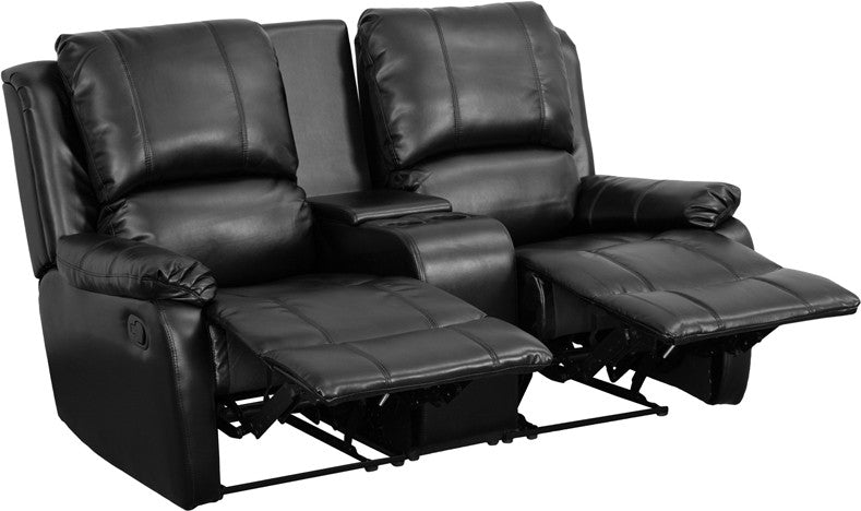 2-SEAT Recliner Pillow Back Black Leather Theater Seating - Man Cave Boutique