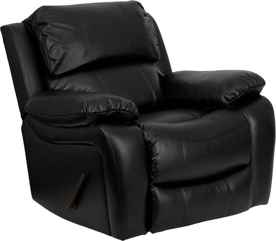 Black Leather Rocker Recliner - Man Cave Boutique