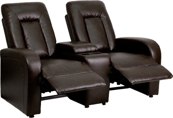 2-SEAT Brown Leather Contemporary Theater Seating Unit - Man Cave Boutique