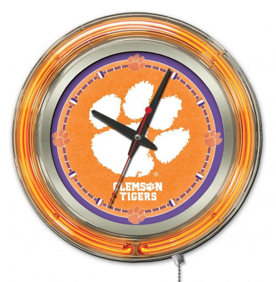 "15"" Clemson University Logo Neon-Accented Clock - Man Cave Boutique"