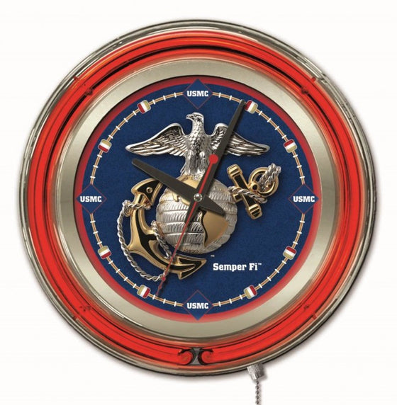 "15"" US Marine Corps Logo Neon-Accented Clock - Man Cave Boutique"