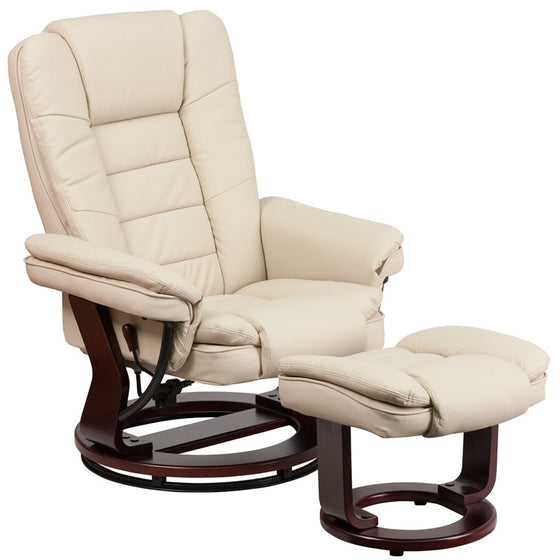 Contemporary Beige Leather Recliner & Ottoman & Swivel Mahogany Base - Man Cave Boutique