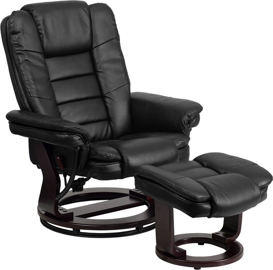 Contemporary Black Leather Recliner & Ottoman & Swivel Mahogany Base - Man Cave Boutique
