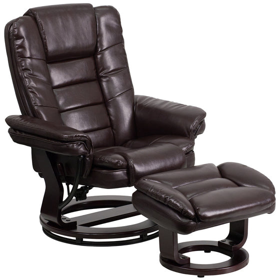 Contemporary Brown Leather Recliner & Ottoman & Swivel Mahogany Base - Man Cave Boutique