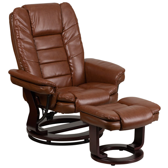 Brown Vintage Leather Recliner & Ottoman w/Swivel Wood Mahogany Base - Man Cave Boutique