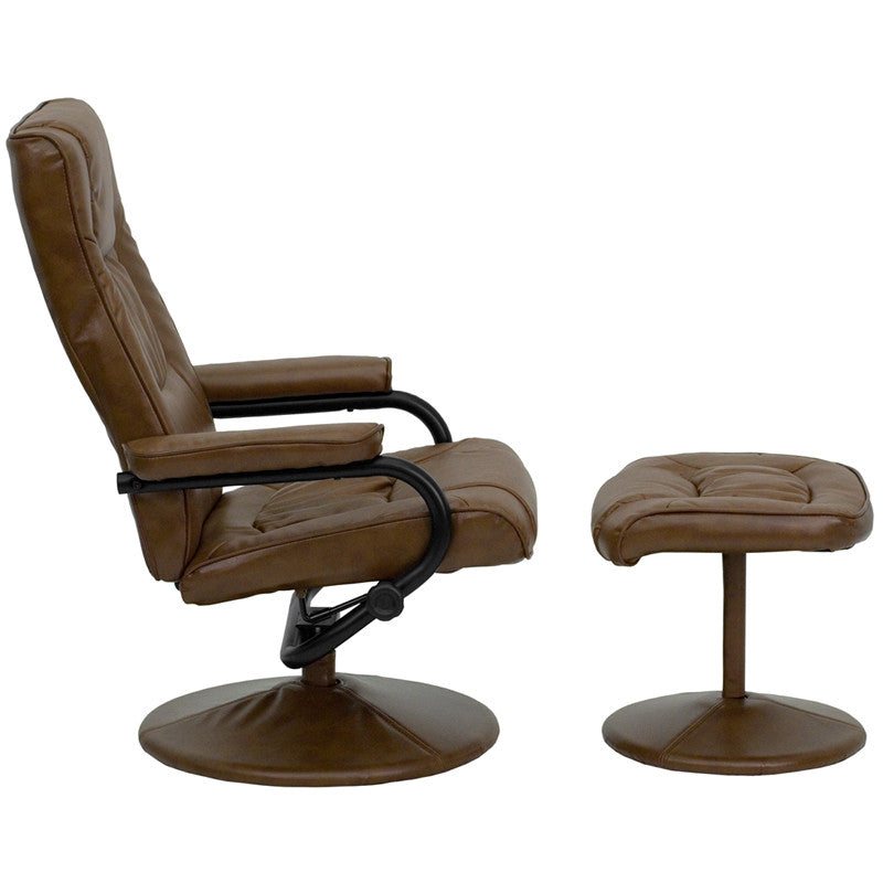 Contemporary Palimino Leather Recliner & Ottoman - Man Cave Boutique