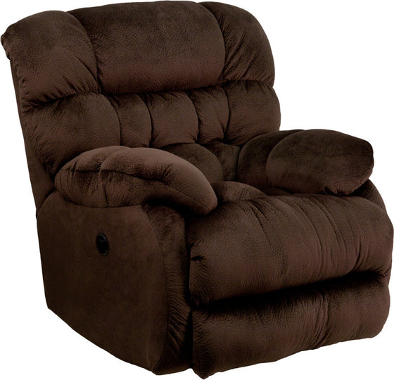 Power Recliner Contemporary Sharpei Chocolate Microfiber - Man Cave Boutique