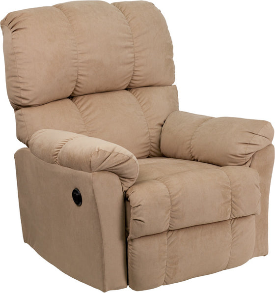 Power Recliner Contemporary Top Hat Coffee Microfiber with Push Button - Man Cave Boutique