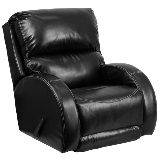 Contemporary Black Leather Rocker Recliner - Man Cave Boutique