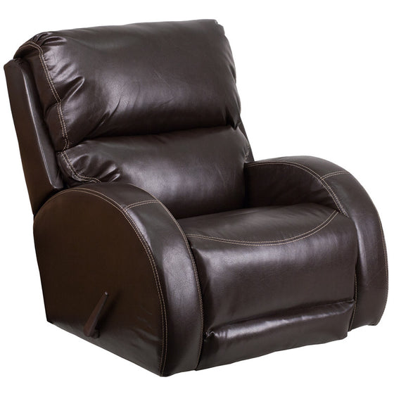 Contemporary Brown Leather Rocker Recliner - Man Cave Boutique