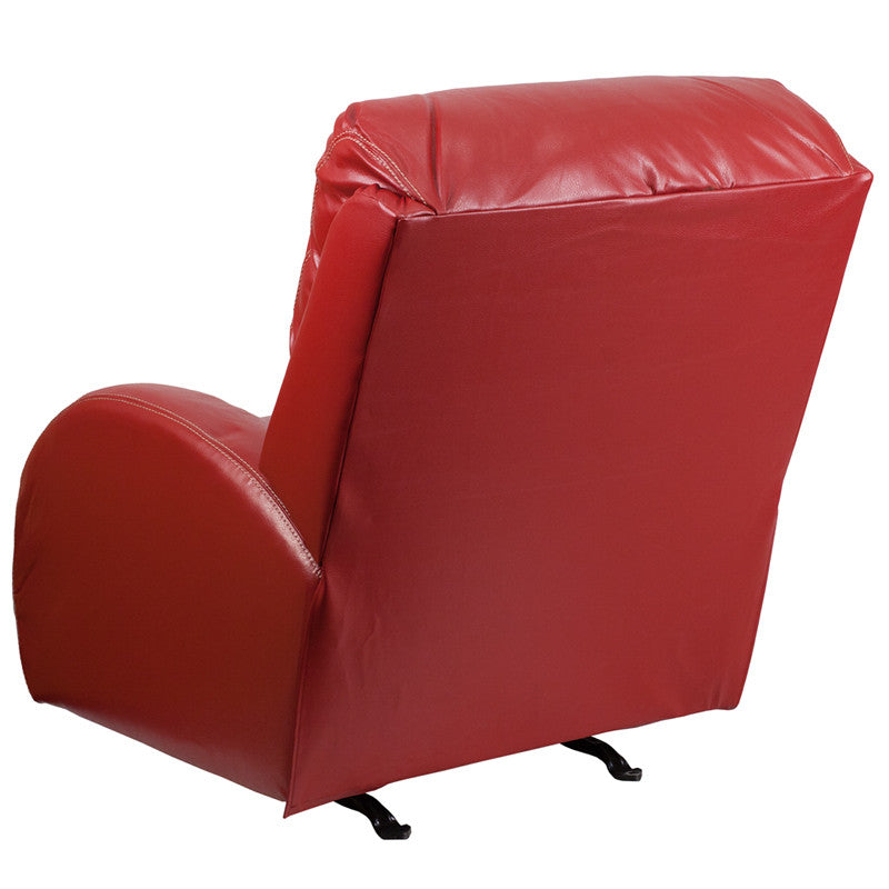 Contemporary TY Red Leather Rocker Recliner - Man Cave Boutique