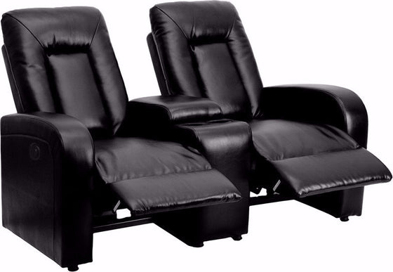 2-SEAT Power Black Leather Theater Seating Unit - Man Cave Boutique