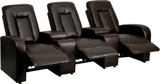 3-Seat Power Reclining Brown Leather Theater Seating Unit - Man Cave Boutique