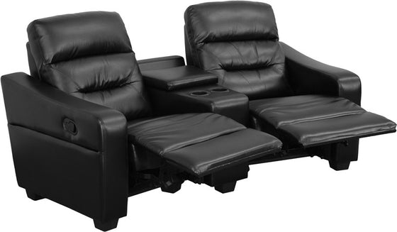 2-SEAT Reclining Black Leather Theater seating Unit with Cup Holders - Man Cave Boutique