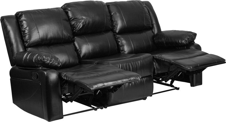 Black Leather Sofa With Two Built-In Recliners - Man Cave Boutique