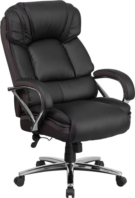 Hercules 500 LB. Capacity Big & Tall Black Leather Executive Chair - Man Cave Boutique