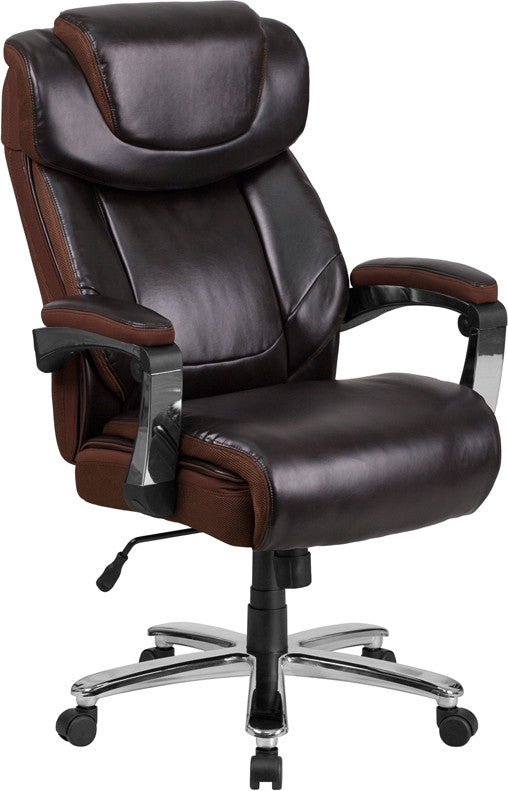 Hercules 500 LB. Capacity Big & Tall Brown Leather Office Chair - Man Cave Boutique