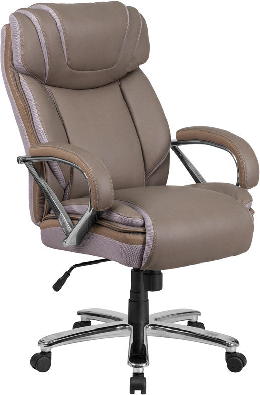 Hercules 500 LB. Capacity Big & Tall Taupe Leather Office Chair - Man Cave Boutique