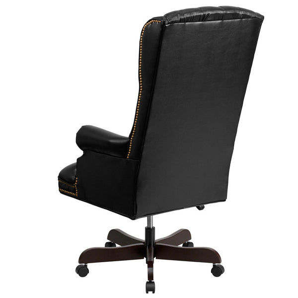 High Back Traditional Tufted Black Leather Executive Office Chair Man Cave Boutique
