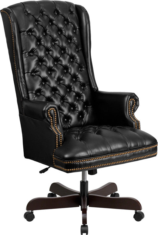 High Back Traditional Tufted Black Leather Executive Office Chair - Man Cave Boutique