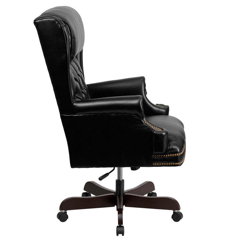 Traditional Tufted Black Leather Office Chair with Rolled Headrest - Man Cave Boutique