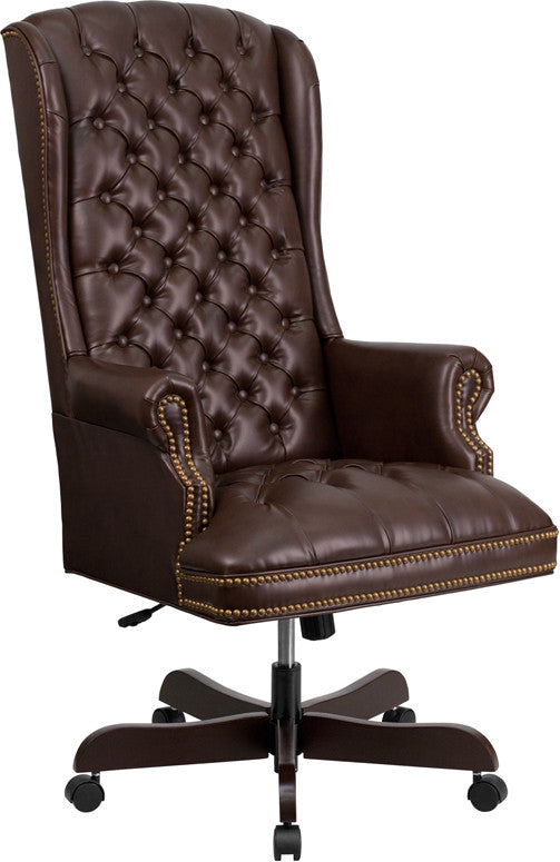 High Back Traditional Tufted Brown Leather Executive Office Chair - Man Cave Boutique