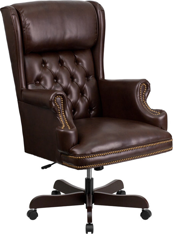 Traditional Tufted Brown Leather Office Chair with Rolled Headrest - Man Cave Boutique