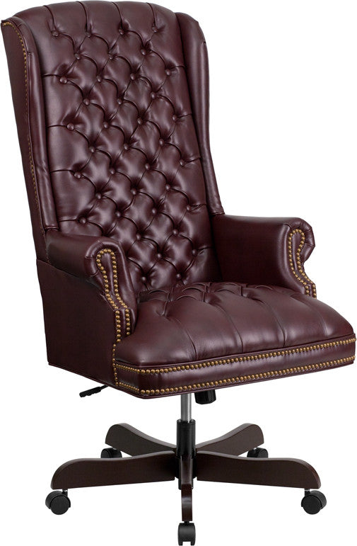 High Back Traditional Tufted Burgandy Leather Executive Office Chair - Man Cave Boutique