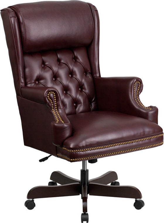 Traditional Tufted Burgandy Leather Office Chair with Rolled Headrest - Man Cave Boutique