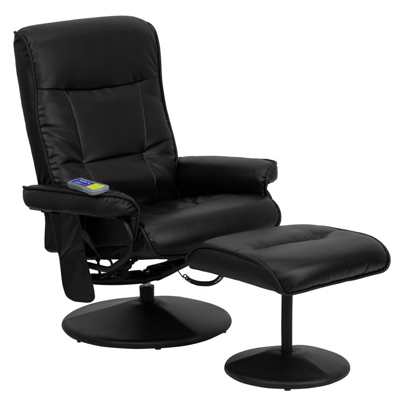 Massaging Black Leather Recliner and Ottoman with Leather Wrapped Base - Man Cave Boutique